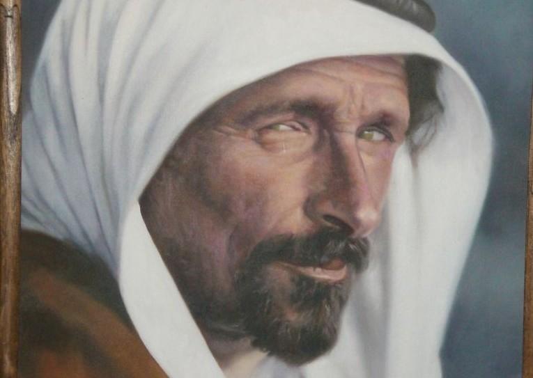 Mithqal al-Fayez, peint pour la famille d'après une photo des années 1920 en noir et blanc. (Crédit : autorisation)