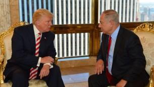 Prime Minister Benjamin Netanyahu and Republican presidential candidate Donald Trump meeting at the Trump Tower in New York, September 25, 2016. (Kobi Gideon/GPO)