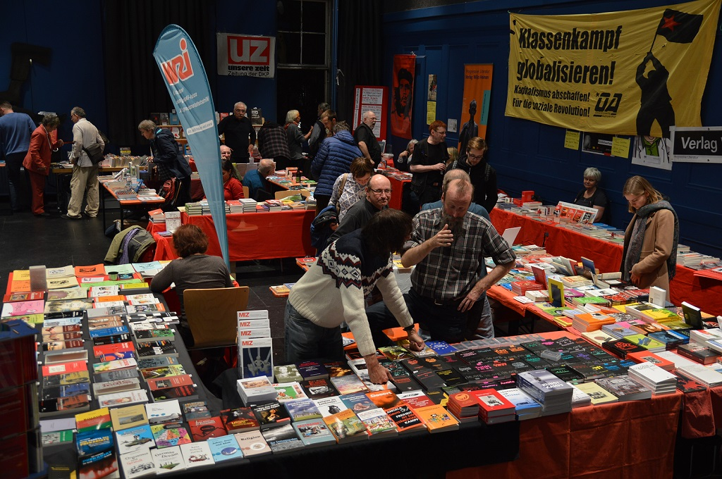 Publishers offer their books at the Left Literature Fair. (Felix Balandat/Times of Israel)
