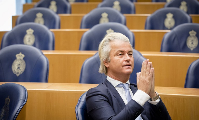 Geert Wilders, leader of the right-wing Dutch Party for Freedom (Partij voor de Vrijheid -- PVV), at the Senate at the Binnenhof in The Hague, Holland, November 17, 2016. (AFP/ANP/Bart Maat)