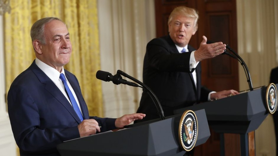 President Donald Trump and Prime Minister Benjamin Netanyahu participate in a joint news conference in the East Room of the White House in Washington, February 15, 2017. (AP Photo/Pablo Martinez Monsivais)