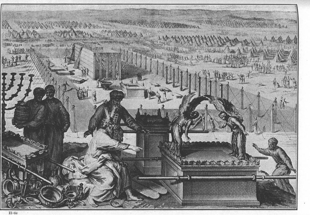 1728 illustration of the Ark at the erection of the Tabernacle and the sacred vessels, as in Exodus 40:17-19 (Gerard Hoet and others, published by P. de Hondt in The Hague / Wikipedia)