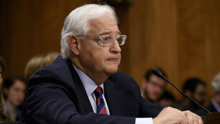 David Friedman testifying before the Senate Foreign Relations Committee on his nomination to be the US ambassador to Israel, Feb. 16, 2017. (Win McNamee/Getty Images via JTA)
