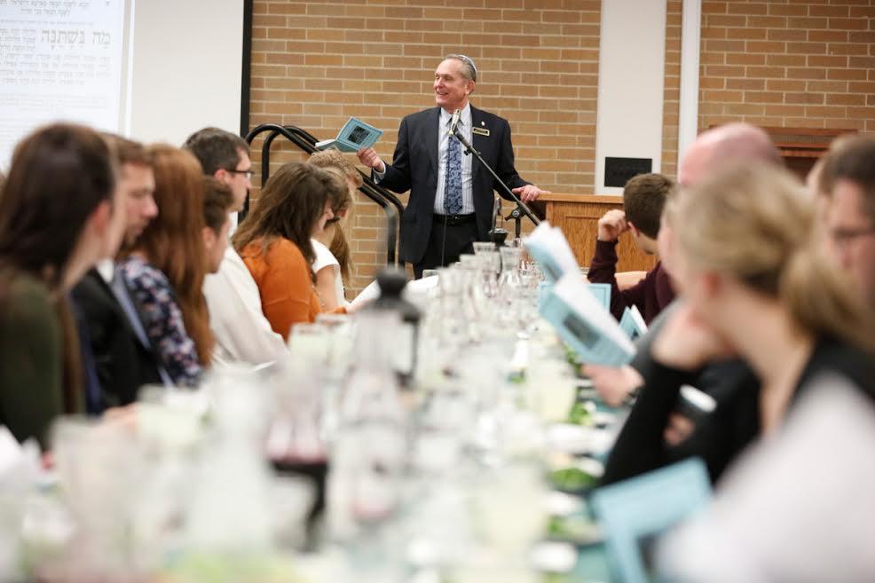Professor Jeff Chadwick leads the BYU Passover Seder Service, March 11, 2016. (Jaren Wilkey/BYU)