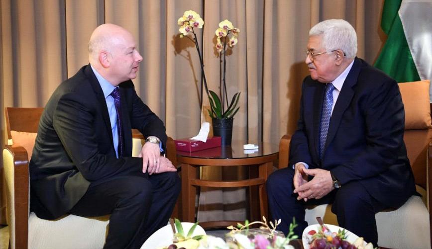 US Middle East envoy Jason Greenblatt meets Palestinian Authority President Mahmoud Abbas on the sidelines of the Arab League Summit in Amman, March 28, 2017 (Wafa/Thair Ghnaim)