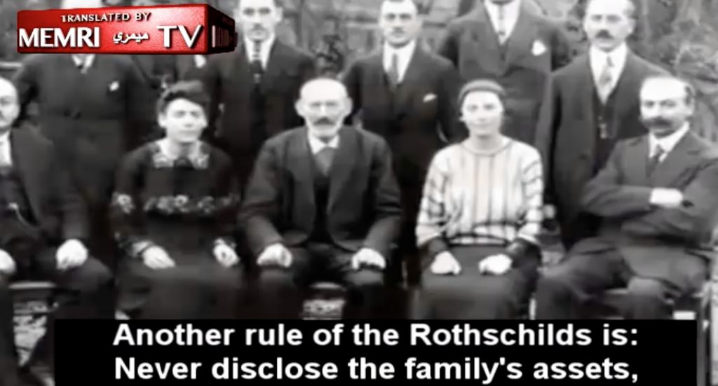 To the backdrop of a Rothschild family portrait, views of Russia's Channel 1 learn the dynasty's 'rules.' (screenshot)