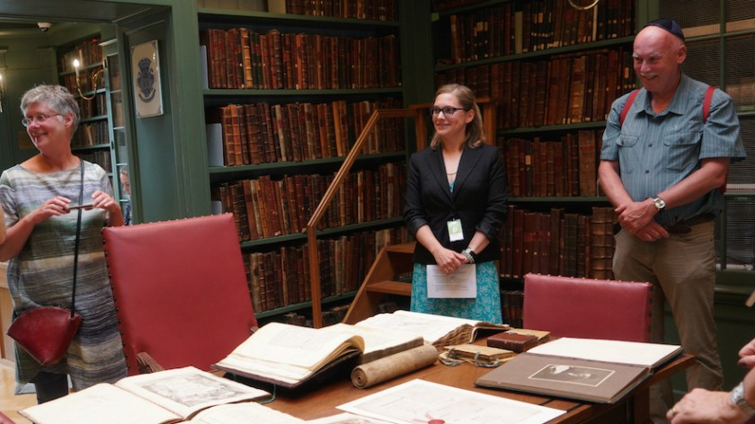 Cataloger Ruth Peeters, center, telling visitors about the history of the Ets Haim Jewish library in Amsterdam, May 17, 2017. (Cnaan Liphshiz/JTA)