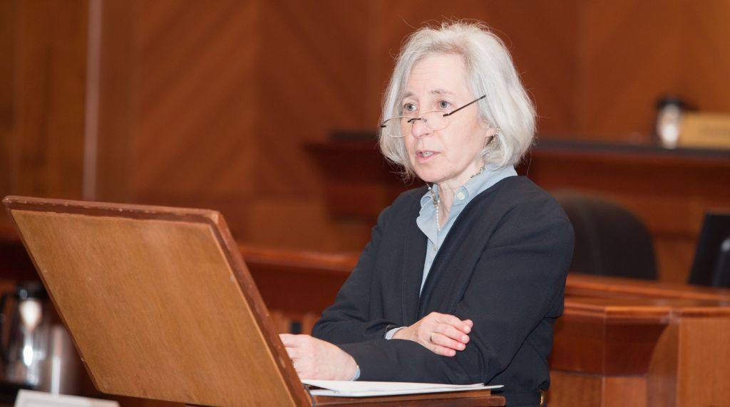 Harvard Law School Dean Martha Minow speaks about law and the Holocaust at the John Adams Courthouse in Boston, Massachusetts, June 12, 2017 (Elan Kawesch/The Times of Israel)