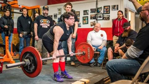 Rabbi Carolyn Braun powerlifting at the March 11 competition at Dyna Maxx gym in Portland, Maine. (Dyna Maxx)