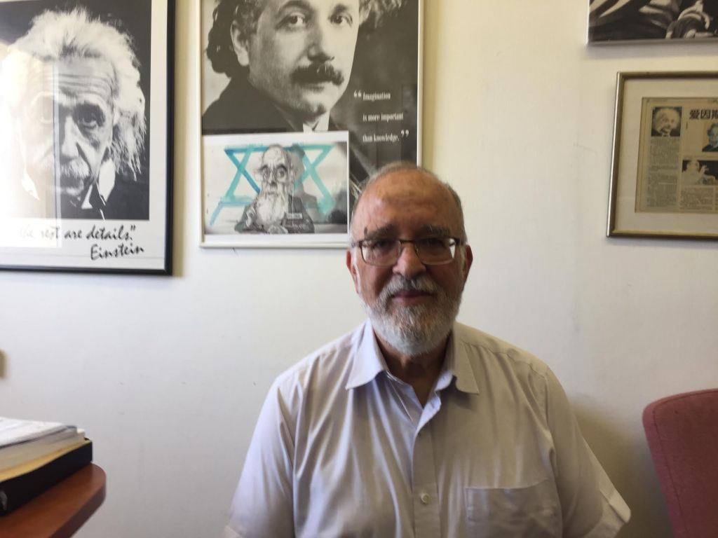Prof. Isaac Ben-Israel at his Tel Aviv University office, June 19, 2017 (DH / ToI staff)