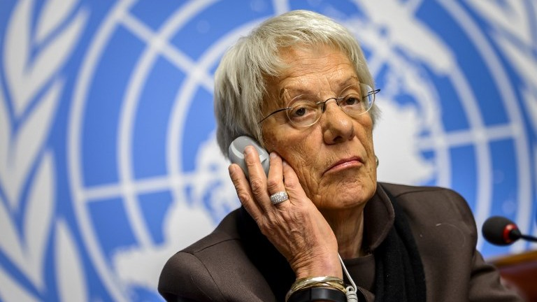 This file photo taken on March 17, 2015, shows member of the United Nations Commission of Inquiry on Syria, Carla del Ponte, attending a press conference in Geneva. (AFP Photo/Fabrice Coffrini)