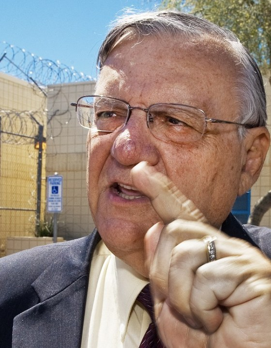 This file photo taken on May 3, 2010 shows Maricopa County Sheriff Joe Arpaio outside his famous tent city jail for misdemeanor offenses May 3, 2010, in Phoenix, Arizona. (AFP PHOTO / Paul J. RICHARDS)