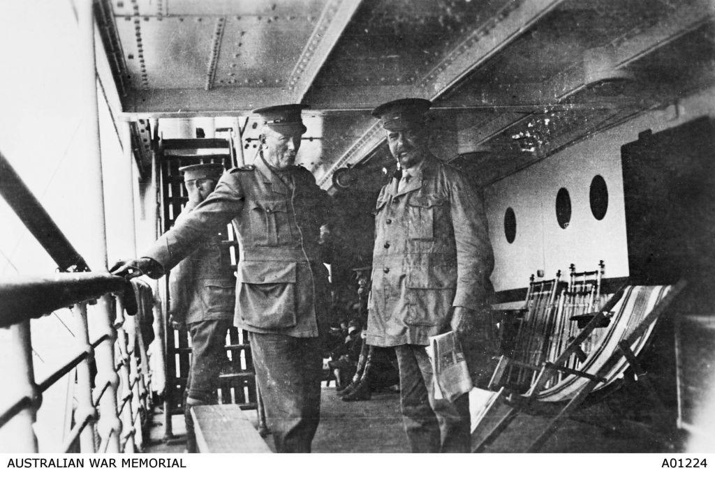 Lieutenant General (then Colonel) Sir John Monash and Lieutenant Colonel Granville John Burnage on board the HMAT Ulysses, taken on voyage to Egypt. (Courtesy Australian War Memorial)