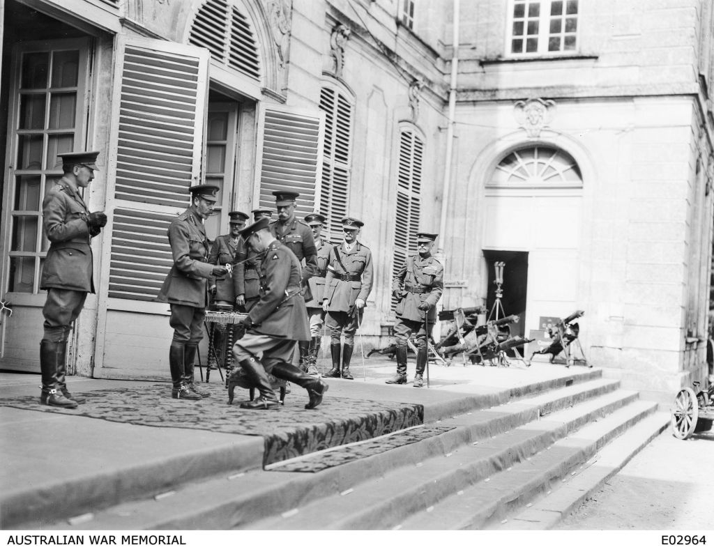 Sir John Monash being knighted by English King George V. (Courtesy of the Australian War Memorial)