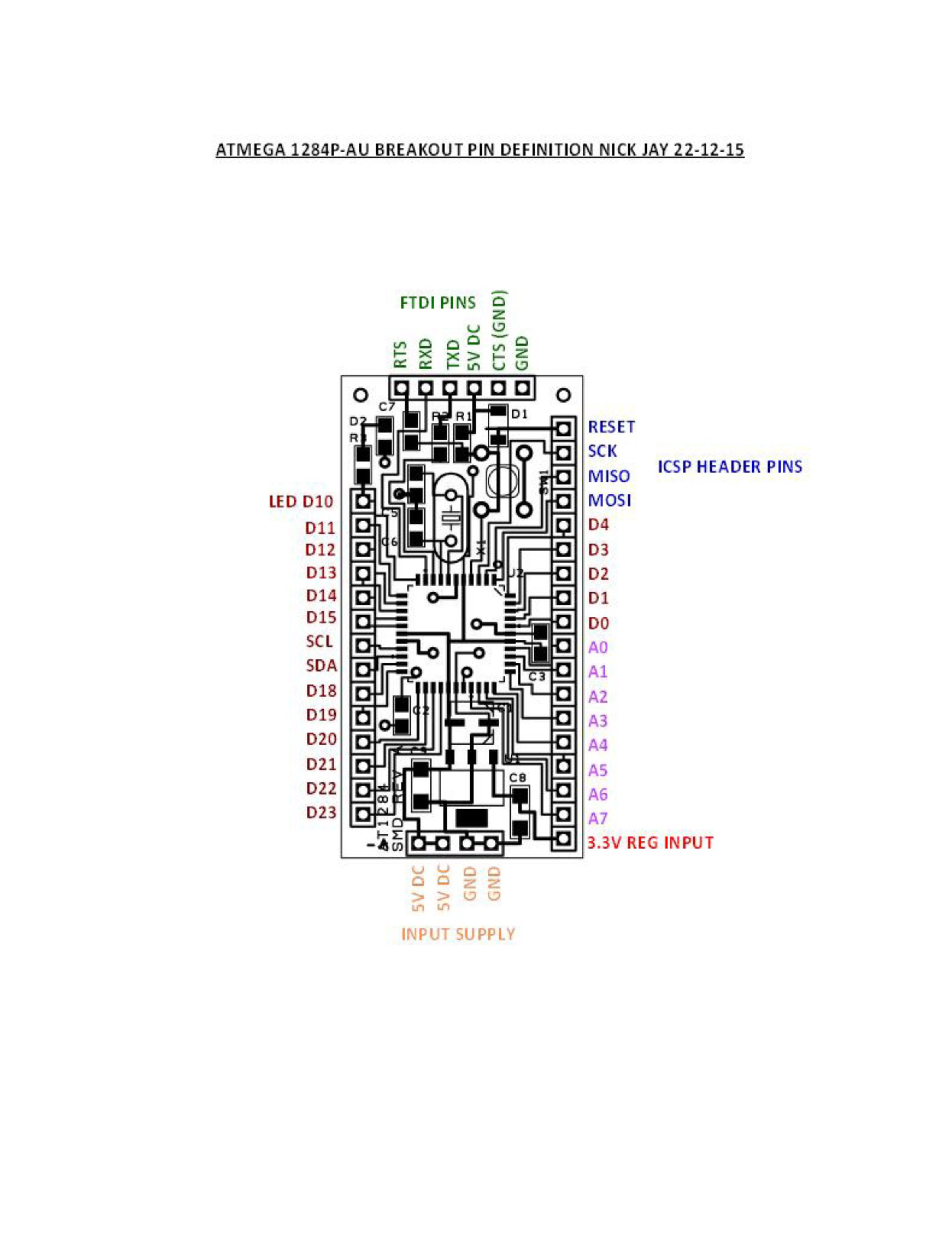 Mini Surface mount ATmega1284P-AU Breakout Low amp from