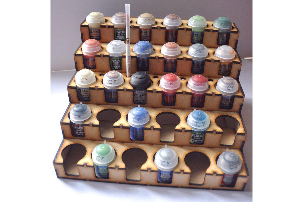 lasercut paint rack for citadel tamiya sized pots