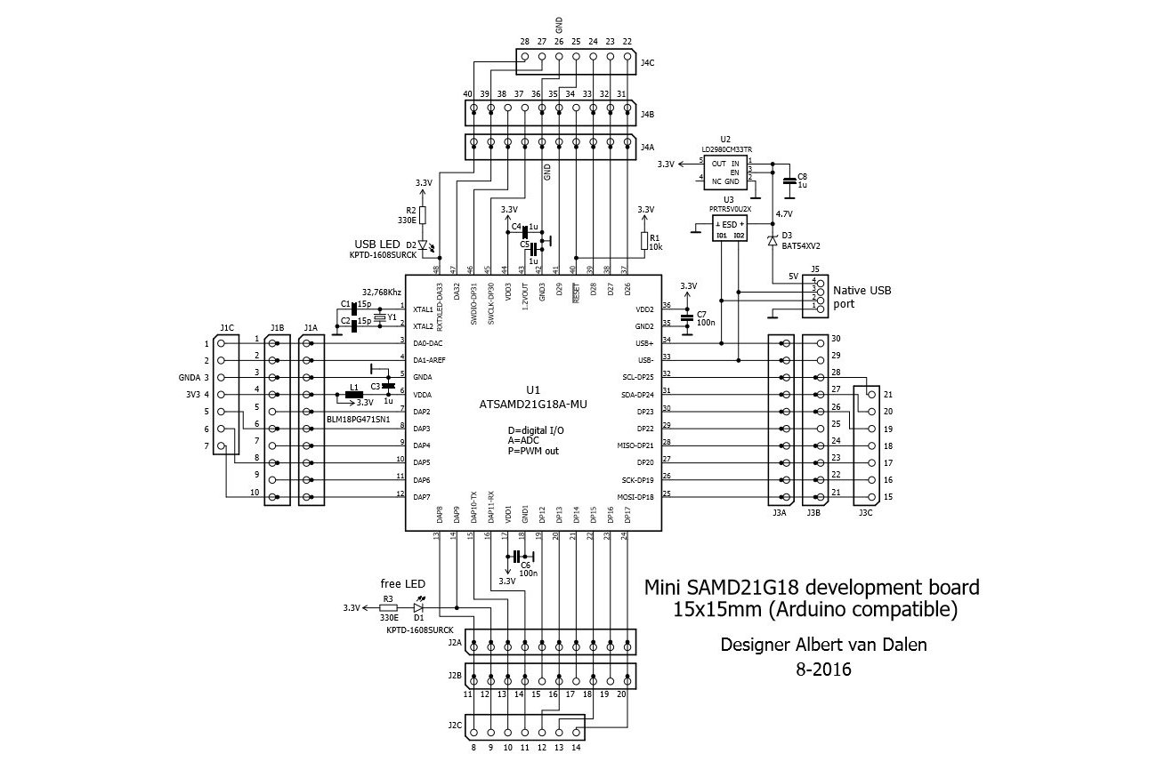 Sam 15x15 Arduino Zero Compatible Samd21 Board From Avandalen On Tin