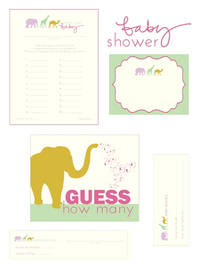 """Two free printable baby shower games, """"Name that Baby"""" and """"Guess How Many"""""""