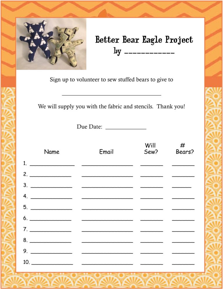 Easy Better Bear Eagle Scout Project free printables