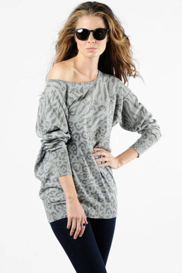 Grey Sweater - Leopard Print Shoulder 106 Tobi