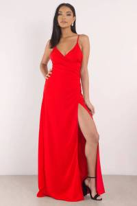 Sexy Red Dress - High Slit Dress - Deep V Neckline - $31 ...