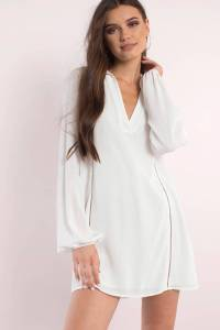 White Dress - Long Sleeve Dress - White Kaftan Dress - Day ...