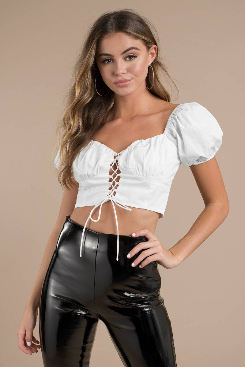 The Girl Next Door White Lace Up Crop Top