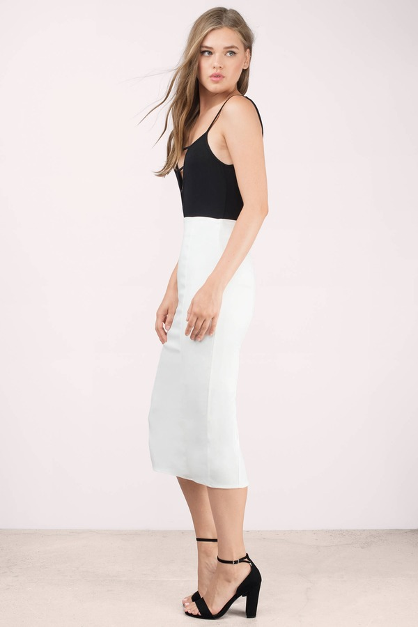 Sexy Ivory Skirt  White Skirt  High Waisted Skirt