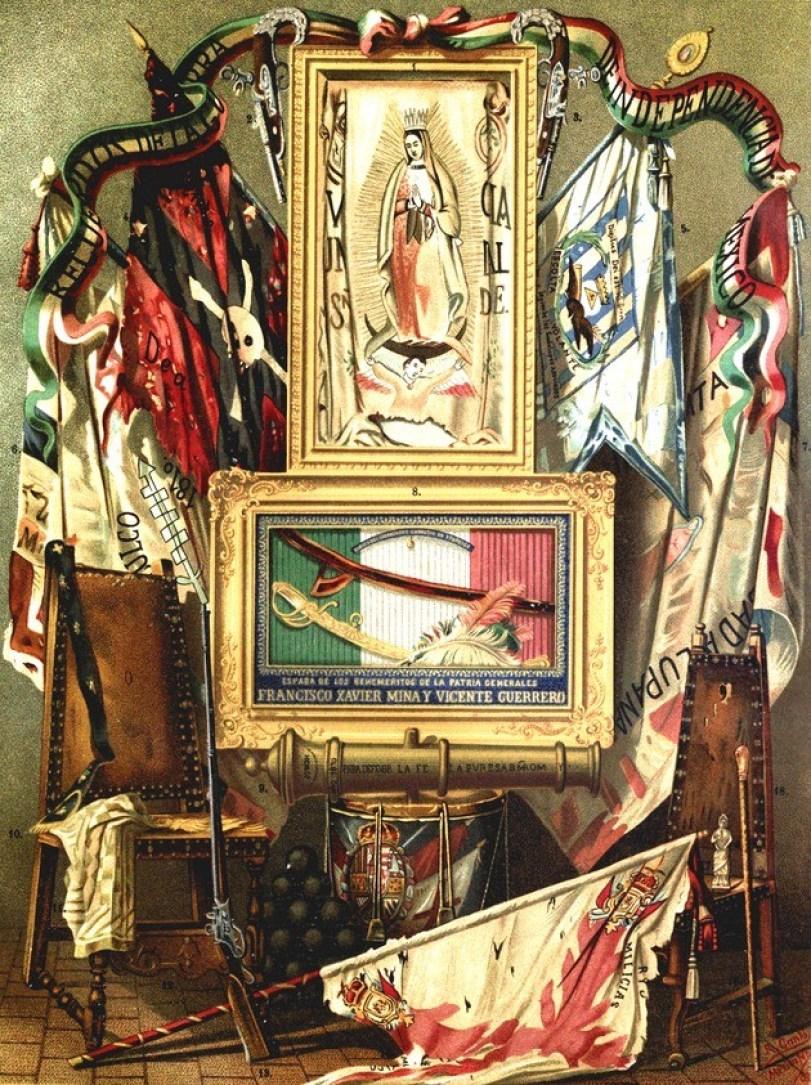Miguel Hidalgo y el estandarte de la Virgen de Guadalupe.