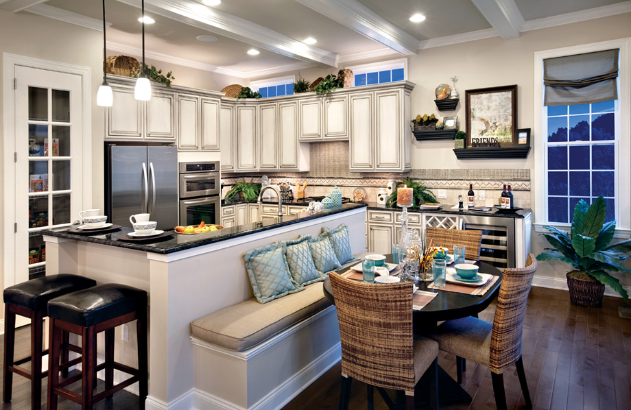 Stunning kitchen with center island and breakfast nook