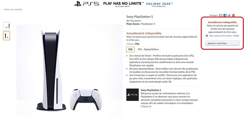 Image 3: PS5: Amazon online page, Sony will announce the price and release date of its console