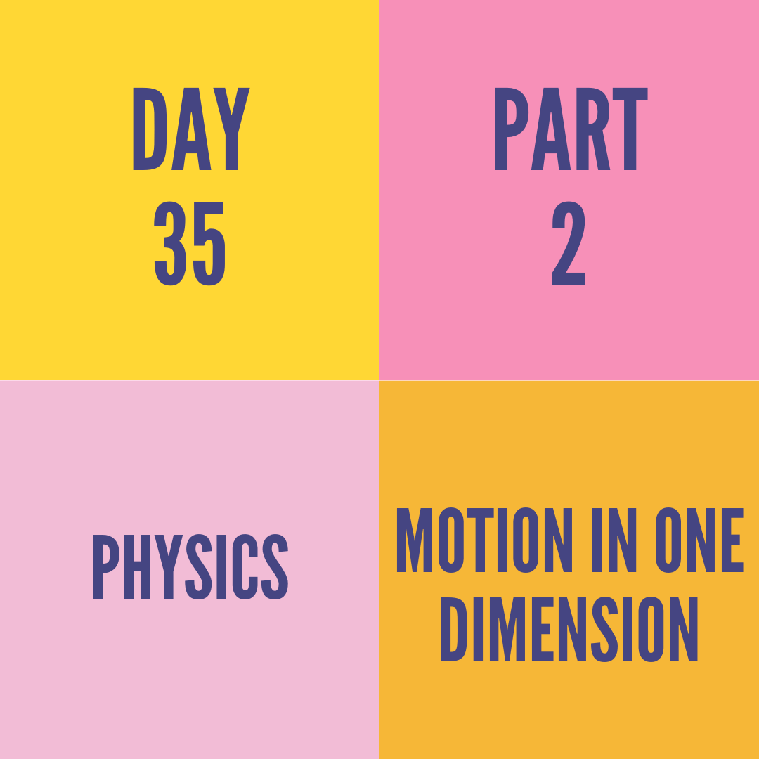 Day 35 Part 2 Motion In One Dimension