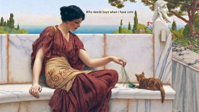 Classic-Women-Cat-Painting