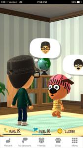 Two Mii characters interacting in Miitomo. Image Credit: Nintendo, Stephen Infantolino