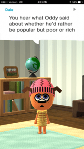 My Mii telling me how a friend answered a question. Screen cap from iPhone 6s + Image Credit: Nintendo