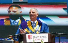 Former US Attorney General Eric Holder spoke to Stony Brook graduates about what they need to do in order to achieve their goals. Photo by Kayla Shults.