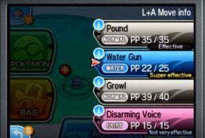 This image shows the new move selection screen, letting the player know about move effectiveness. Image Credit: Nintendo