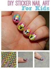 diy silly sticker nail art