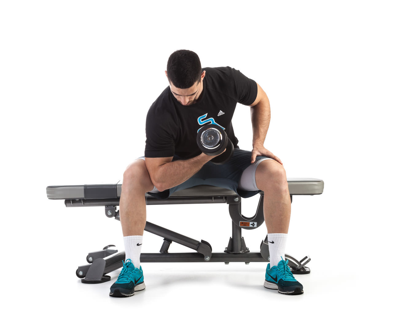 Seated Dumbbell Concentration Curl | Total Workout Fitness