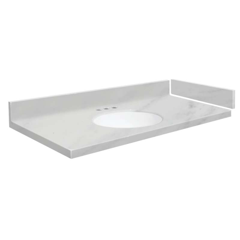 61 in solid surface vanity top in white carrara with 4in centerset