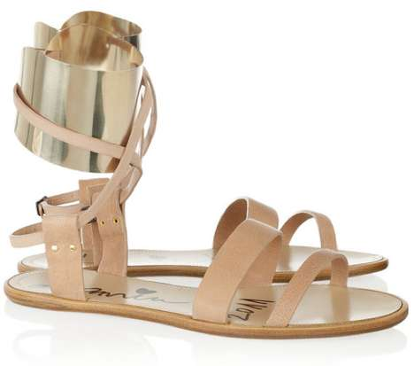 Lanvin Metal-Cuffed Leather Sandals 2