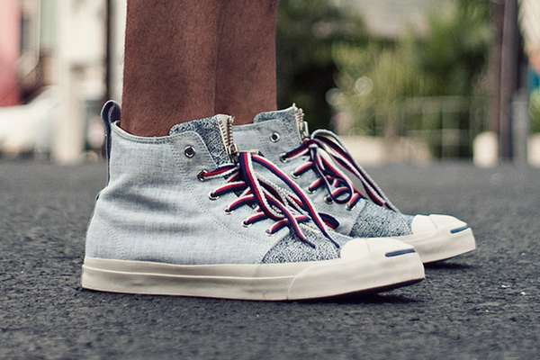 Distressed Denim Sneakers  Aloha Rag Converse Shoe