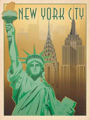 Vintage American City Prints Anderson Design Group Posters