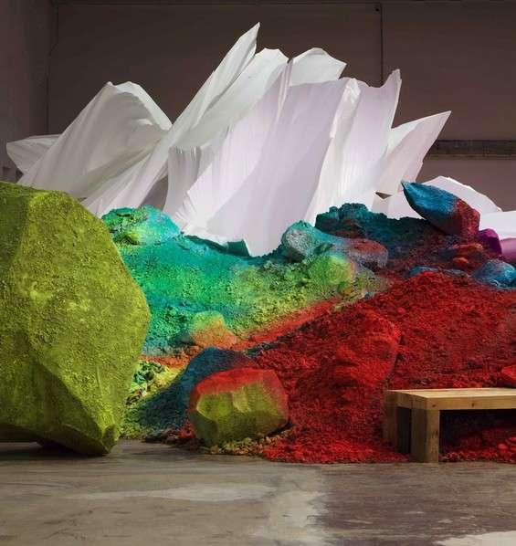 Vibrantly Painted Soil  artist Katharina Grosse