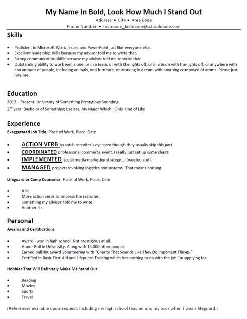 Terribly Typical Mock Resumes Bad Resume