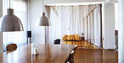 SpaceSaving Curtains Bauke Knotterus Gives Your Loft More Privacy Using Printed Curtains
