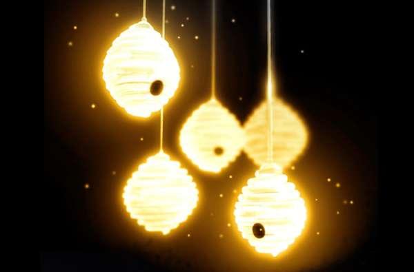 Hanging Honeybee Lights  Beehive Garden Lamp