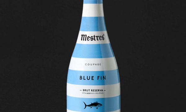 Stripey Beverage Branding  Blue Fin Champagne packaging
