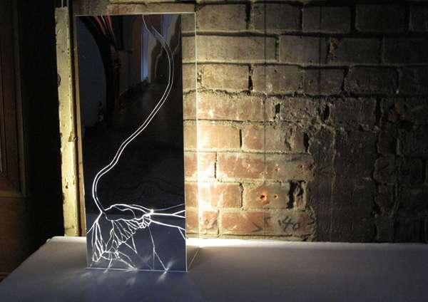 Shattered Glass Art Broken Mirror Lighting Gets a Second Home Decor Chance