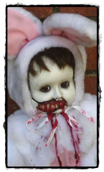 Cute  Creepy Halloween Decor The Bunny Vampire Girl by
